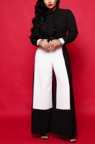 Sexy wide-leg pants fashionable high-waisted collared pants ZS0159