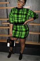 Sexy plaid thickened sweater with hip wrap skirt ZS078
