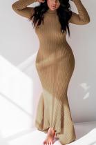 Elegant Sexy Simplee Crochet Long Sleeve Round Neck Flounce Long Dress LML067
