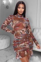 Fashion Print Drawstring Asymmetrical Ruched Hem Dress YFS3553
