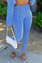 Casual Modest Simplee Elastic Waist High Waist Jeans LMM8190