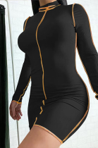 Casual Sporty Simplee Patchwork Long Sleeve High Neck Spliced A Line Dress CYF3668