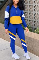 Casual Preppy Sporty Long Sleeve Contrast Panel Hoodie Long Pants Sets lmm8189