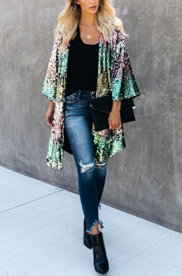 Casual Luxe Simplee Sequins Half Sleeve CardigansTRS981