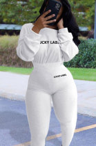 Cotton Long Sleeve Embroidered Soft Rib Stretch Fitness jumpsuit BLE2167