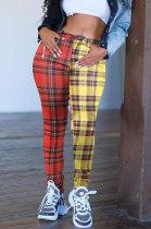 Casual Polyester Spliced Mid Waist Monochrome Slacks Long PantsCYY8599