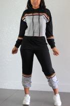 Casual Preppy Sporty Striped Long Sleeve Spliced Hoodie Sweat Pants Sets OEP6216