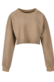 Casual Cute Simplee Long Sleeve Round Neck Crop Top JHH0039