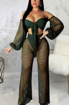Boho Sexy Mesh Long Sleeve Hollow Out Crop Top Sets SMR9736