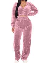 Casual Suede Zipper Hooded Coat Straight Leg Pants Sets YT3250