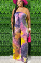 Casual Polyester Tie Dye Mid Waist Jumpsuit WA7079