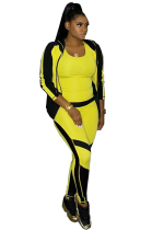 Newin Sporty Colorblock Print Two-pieces Zippered Hoodie Pants Sets