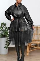 Modest Elegant Sexy Mesh Pu Leather Long Sleeve Lapel Neck Waist Tie Coat YYZ641
