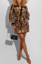 Elegant Sexy Simplee Baroque Long Sleeve Shirt Dress L0324