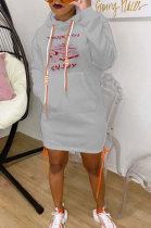 Fashion Set Head Round Neck Upset Hem Open Fork Tie The Rope Hooded Dress FA7138