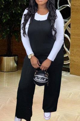 Big Size Fashion Pure Color Suspenders Mid Waist Pants SetsWA7094