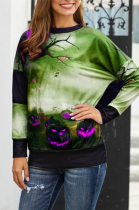 Halloween Casual Cute Simplee Letter Long Sleeve Round Neck Top LWY2361
