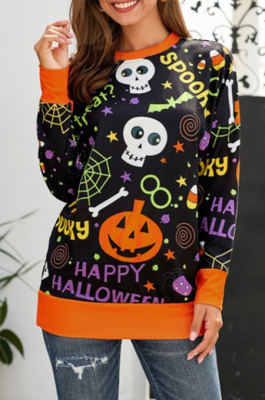 Casual Cute Simplee Cartoon Graphic Long Sleeve Round Neck Shirts LWY2161B