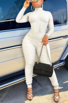 Casual pit strip with bare back spliced solid color jumpsuit SMY8046