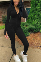 Casual Sexy Simplee Long Sleeve Deep V Neck Bodycon Jumpsuit ALS215