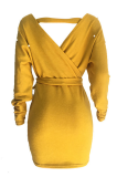Modest Sexy Simplee Long Sleeve Deep V Neck Off Shoulder Mini Dress OEP6228