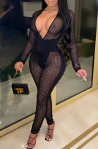 Sexy Long Sleeve Deep V Neck Perspective Mesh Jumpsuits YF8716