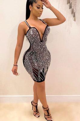 Sexy Deep V Neck Cold Shoulder Hot Drilling Bubble Bead Dress YF8697