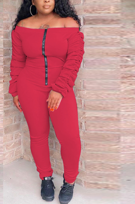 Casual Modest Simplee Long Sleeve Off Shoulder Shirred Detail Jumpsuit TRS1077