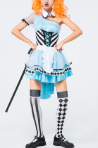 Halloween Costume Blue Fantasy Maid Outfit Fancy Dress PS7042