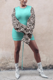Modest Cute Preppy Leopard Bell Sleeve Mini Dress TZ1160