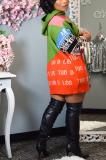 Modest Cute Sporty Letter Long Sleeve Contrast Panel Sporty Dress KY3030