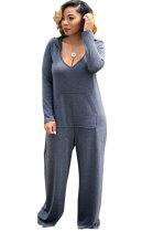 Casual Cotton Blend Long Sleeve Hooded High Waist Jumpsuits YF8737