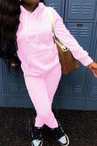 Sporty Pure Color Fleece Hoodie Long Sleeve Long Pants Sets ABL6626