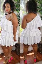 Commuting Polyester Big Size Dress Inclined Shoulder Ruffle YF1294