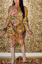Modest Luxe Sexy Chiffon Leopard Long Sleeve Midi Dress CY1263