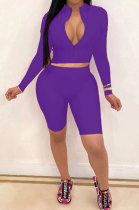 Sexy Pure Color Long Sleeve Shorts Two-Piece YSH6162