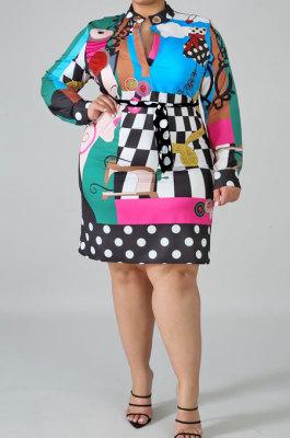 Fashion Digital Printing Wave Point Bind Silk Scarf Long Sleeve Mini Dress NY5061