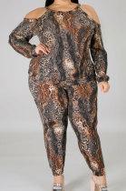 Casual BigSize Women's Clothing Serpentine Printing Off Shoulder Sling Long Sleeve Long Pants Sets NY5062