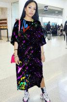 Casual Fashion Starry Sky Printing Short Sleeve Dress LIN8805