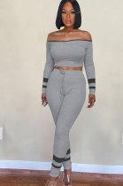 Casual T-Shirt Long Sleeve A Word Shoulder Long Pants Sets WA7098
