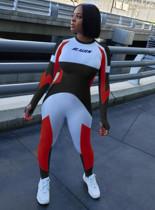 Color Panel Front Logo Print Bodycon Jumpsuit