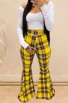 Streets Plaid Printing Long Pants Casual Flare Leg Pants Mid Waist YY5161