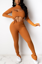Modest Boho Sexy Long Sleeve Hollow Out Bodycon Jumpsuit CY1272
