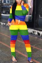 Fashion Street Color Matching Trouser Hem Zipper Casual Pants Sets LIN8820