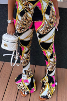 Gold Chain Printed Casual Boot-cut trousers Pants LY5873