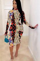 Casual Ditsy Floral Long Sleeve Spliced Round Neck Mid Waist Midi Dress LIN8828