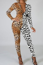 Casual Fashion Long Sleeve Leopard Spliced Sexy Jumpsuits LIN8827
