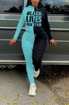 Casual Pop Art Print Long Sleeve Contrast Panel Hoodie Long Pants Sets NK184