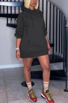 Cute Preppy Sporty Long Sleeve Hoodie Midi Dress MTY6372