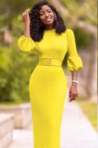 Sexy Slim Lantern Sleeve Long Dress YMT6169